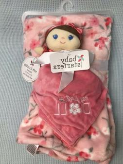Baby Starters Pink My First Doll Blanket Set Flowers Securit