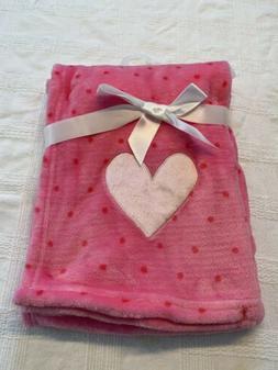 Pink Polka Dot Baby Blanket Plush Sof Heart NEW