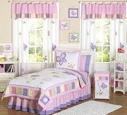 Pink and Purple Butterfly Collection Children's Bedding3pc F