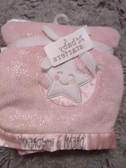 BABY STARTERS PINK SATIN SHERPA BLANKET WITH SILVERGRAY dots