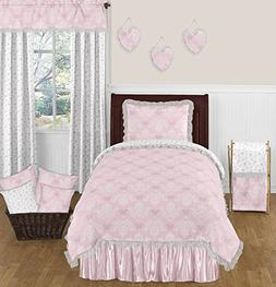 Pink, Gray and White Shabby Chic Alexa Damask Butterfly 4 Pi