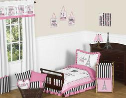 Sweet Jojo Designs 5-Piece Pink, Black and White Stripe Fren