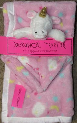 BETSEY JOHNSON PINK UNICORN BABY BLANKET AND SNUGGLE TOY GIF
