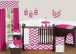 Hot Pink and White Chevron ZigZag Baby Bedding 11 Piece Girl