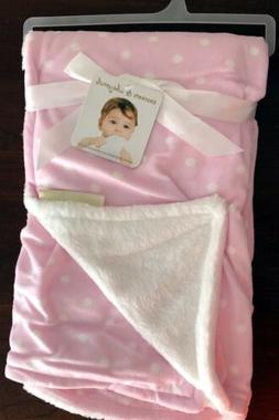 Blankets and Beyond Pink White Polka Dot Baby Blanket New