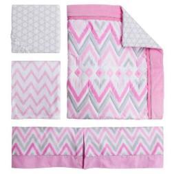 Circo Pink Zzzz's 4pc Crib Bedding Set pink gray  Chevron Ba