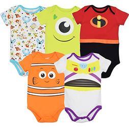 Disney Pixar Baby Boy Girl 5 Pack Bodysuits Nemo Buzz Incred