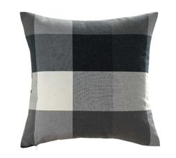 Chezmoi Collection Plaid Decorative Black Gray White Pillow/
