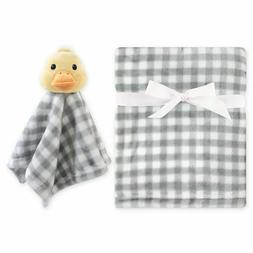 Plaid Gray Baby Blanket w/ plush duck toy security blanket b