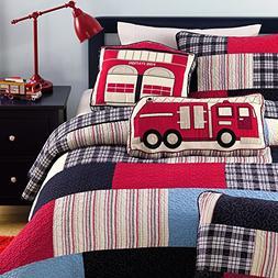 Cozy Line Plaid Quilt Sets Patchwork Bedspread Cotton Kid Be