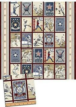 "Play Ball Baseball Sports Panel 24"" x 44"" Cotton Fabric by B"