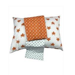 Bacati Playful Foxs 3 Piece Toddler Sheet Set, Orange/Grey