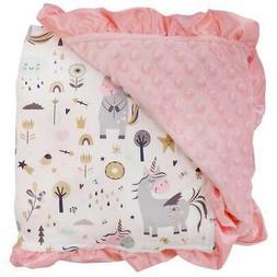 Playful Unicorn Pink / Minky Dot Blanket / Baby Toddler Infa