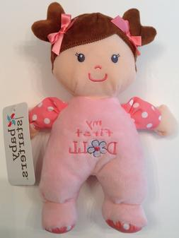 """Baby Starters Plush ~ 9"""" MY FIRST DOLL ~ Pink Polka Dots ~ B"""