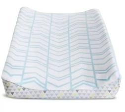CIRCO Plush Aqua Blue Gray Herringbone Changing Pad Cover Ne