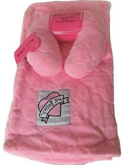 Betsey Johnson Plush Baby Blanket & Support Pillow Super Sof