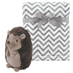 Plush Baby Blanket with Hedgehog Toy by Hudson Baby 30x36 NW