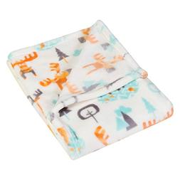 Trend Lab Plush Baby Blanket, Orange Woodland Moose