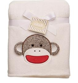 "Baby Starters ""Sock Monkey"" Plush Blanket - ivory, one size"