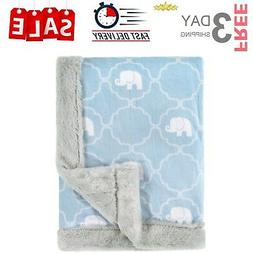 Hudson Baby Plush Blanket with Furry Binding & Back, Elephan
