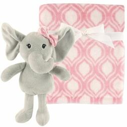 Hudson Baby Plush Blanket & Toy, Pink Elephant