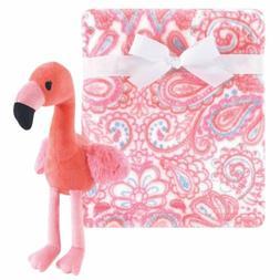 Plush Blanket with Plush Toy Set, Flamingo