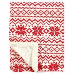 Hudson Baby Plush Blanket with Sherpa Back, Red Fair Isle, O