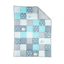 Plush Blue Toddler Blanket - Soft Cot Comforter for Boys and