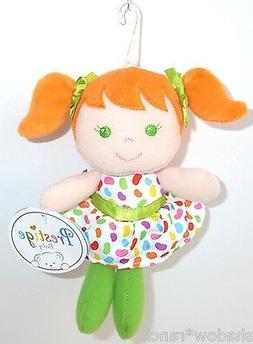 "7"" Girl Plush Rattle ~Orange Prestige Baby Stuffed Toy Doll"