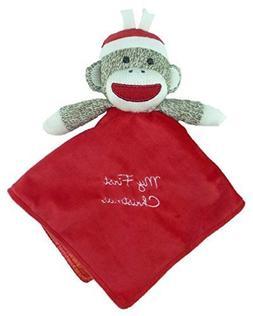 """Plush Sock Monkey """"My First Christmas"""" Snuggle Buddy Rattle"""