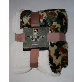 PLUSH 50x60 NORTHPOINT Throw Blanket GREEN CAMOUFLAGE Sherpa