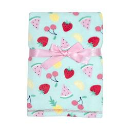 Baby Gear Plush Ultra Soft Baby Girls Blanket 30 x 40, Fruit