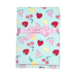 Baby Gear Plush Ultra Soft Baby Girls Blanket 30 x 40, Fruit