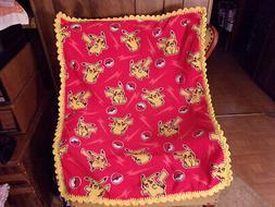 Pokemon Fleece Baby Blanket with Crochet Edging Handmade Yar