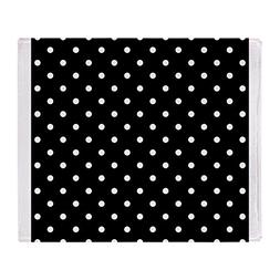 CafePress - Black And White Polka Dot. - Soft Fleece Throw B