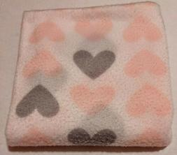 Polyester Baby Blanket-Pink and Grey Hearts Print