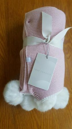 """Elegant Baby Pom Blanket - Pink 30"""" x 40"""""""