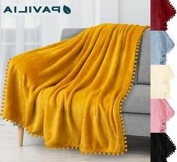 Pom Pom Throw Blanket Pom Fringe Tassel Soft Microfiber Flee