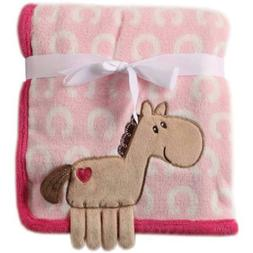 Hudson Baby Pony Coral Fleece 3D Animal Blanket, Pink