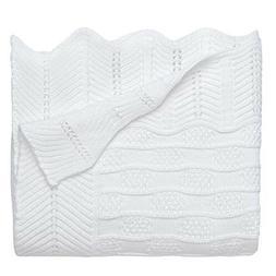 Elegant Baby Premium 100% Cotton Knit Blanket, White Texture