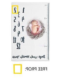 Premium Baby Monthly Milestone Blanket - Soft Fleece & Free