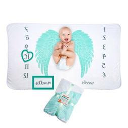 Premium Fleece Angel Wings Baby Milestones Blankets for Boys