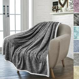Premium Plush Sherpa Throw Blanket For Sofa Couch Bed Microf