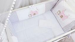 Princess Theme Pink and White Chevron Gray 10 Pcs Nursery Em