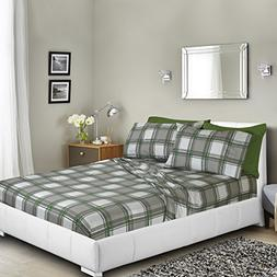 Printed Bed Sheet Set, Full - Green and Gray Plaid - By Clar