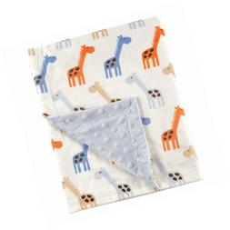 Hudson Baby Printed Mink Blanket with Dotted Backing, Blue G