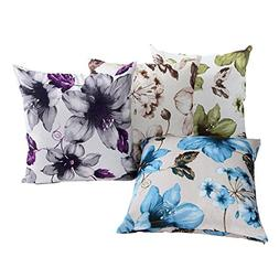 LAZAMYASA 4-Pack Printed Rose Cover Pillows Case Soft Throw