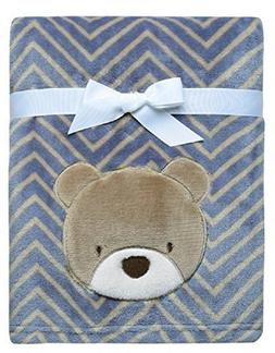 Baby Starters Printed Soft Plush Blanket with Bear Applique