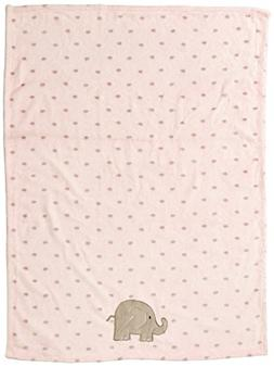Baby Starters Printed Soft Plush Blanket with Elephant Appli