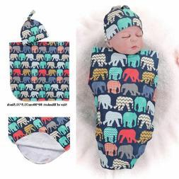 Props Elephant Printed Sleeping Swaddle Baby Swaddle Blanket